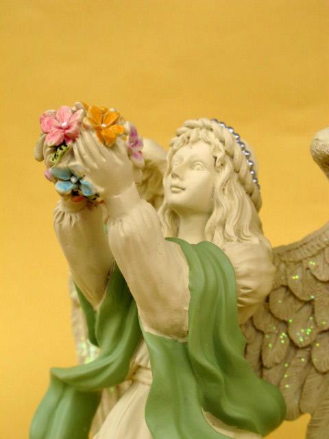 statue d 39 ange 18cm fleurs d coration fun raire sculpture 20014 ebay. Black Bedroom Furniture Sets. Home Design Ideas