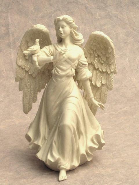 engel mit colombe figurine ange gardien naissance bapt me d coration fun raire ebay. Black Bedroom Furniture Sets. Home Design Ideas